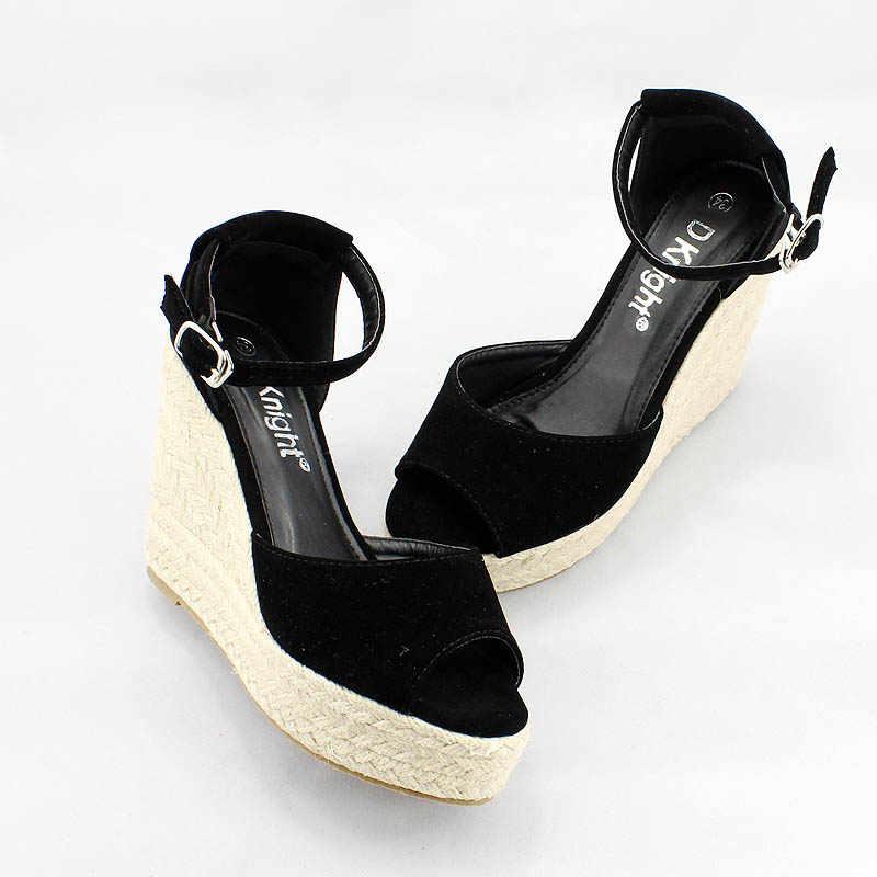 1106f367 ... Talla grande 34-44 estilo de verano sandalias de cuña de mujer moda  concisa de