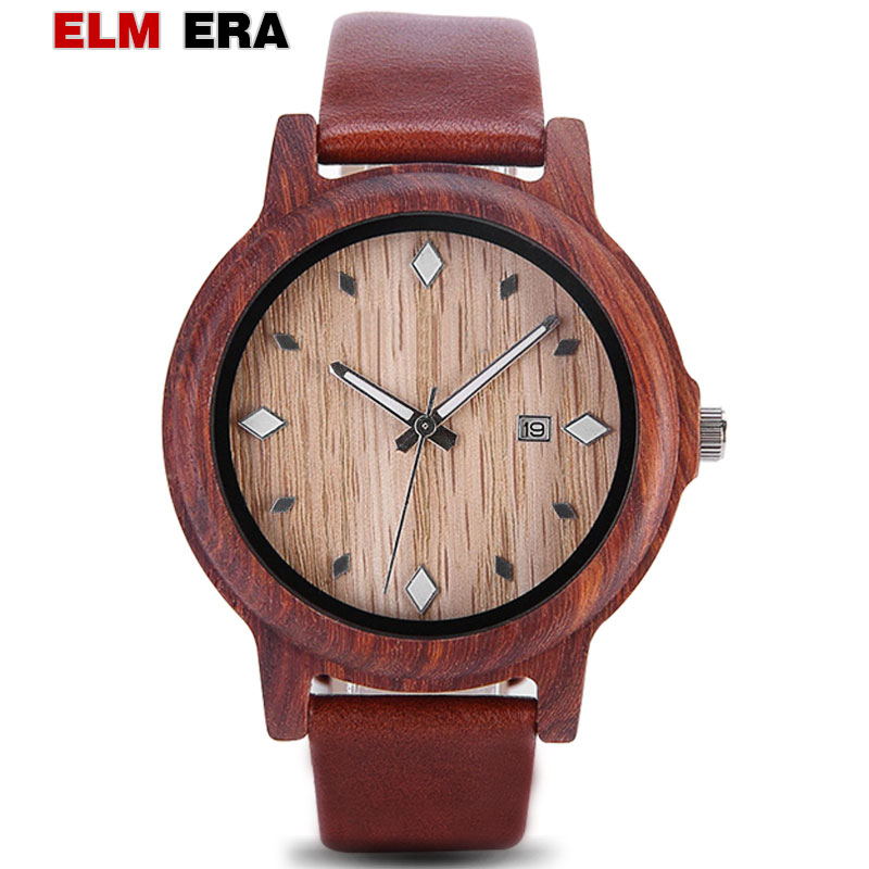 ELMERA Wood Watch for Men Teens Leather Carnival G Shock Watches Red Wooden Famous Strap 22 mm Men's Watch 2018|Quartz Watches| |  - title=