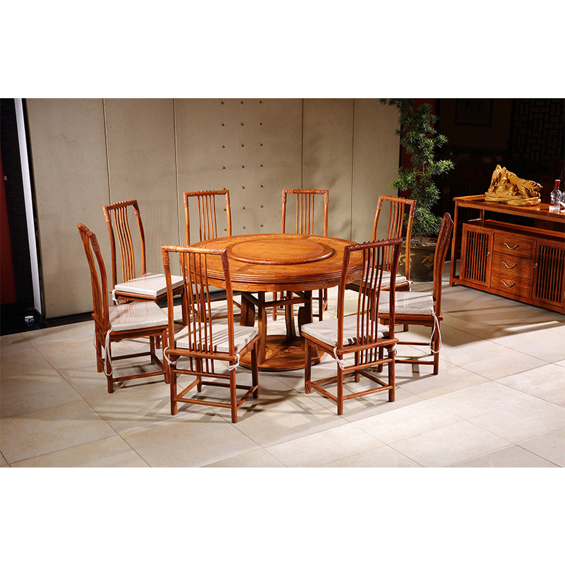 1.38M Hedgehog rosewood Round Table Set 8 Chair Solid Wood Armchair Desk Classic Red wooden Annatto Dining Room Furniture set