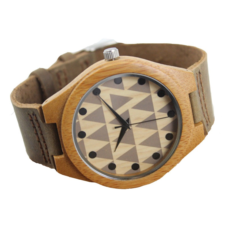 Round Quartz Leather Analog Resin Wooden Men s Watches With Beautiful Pictures For Husband s Gift