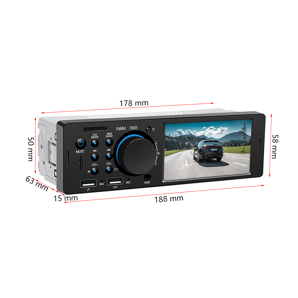 Mini 1DIN 12V Car Radio Audio Stereo Player InDash MP3 FM Transmitter USB SD AUX