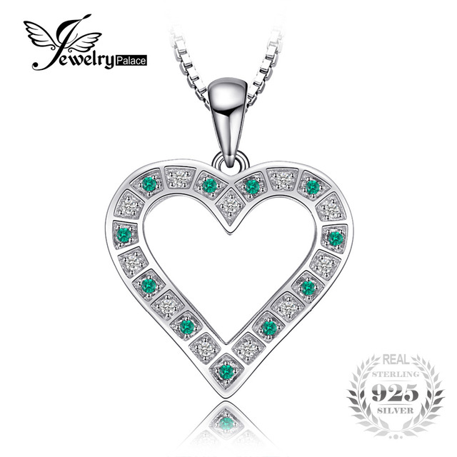 Jewelrypalace high quality created emerald heart pendant 925 jewelrypalace high quality created emerald heart pendant 925 sterling silver women fashion fine jewelry not include aloadofball Images