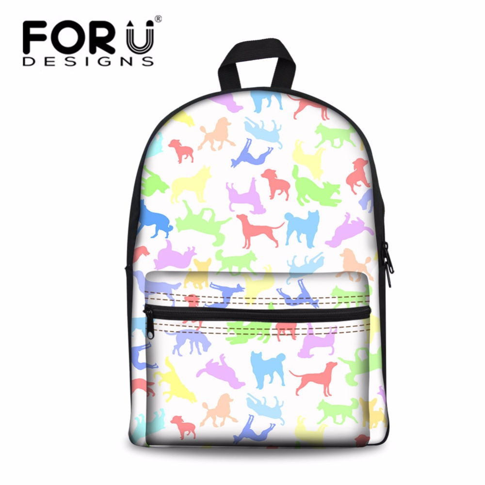 FORUDESIGNS Teenagers Mini Backpack Girls Cartoon Animals Dog Prints Package Kids Cute Bagpack for Travel Daily Mochila Feminina travel tale fashion cat and dog capsule pet cartoon bag hand held portable package backpack