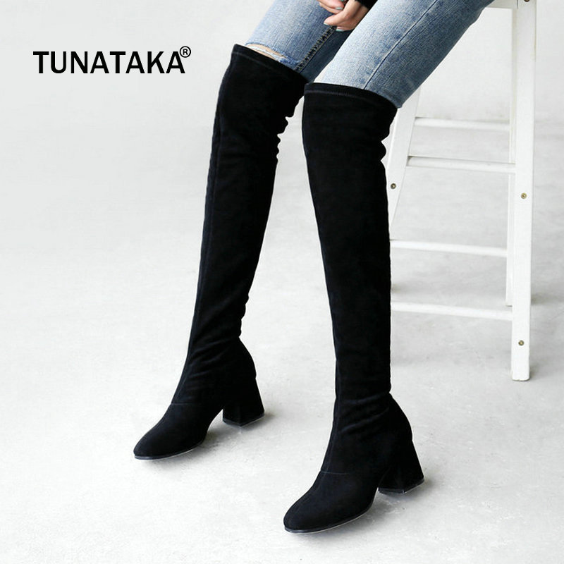 Suede Low Thick Heel Slip On Woman Over The Knee Boots Sqaure Toe Winter Thigh Boots Fashion Laides Stretch Boots Black slip on winter boots stretch lycra