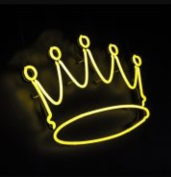 Custom Gift Yellow Crown Glass Neon Light Sign Beer Bar