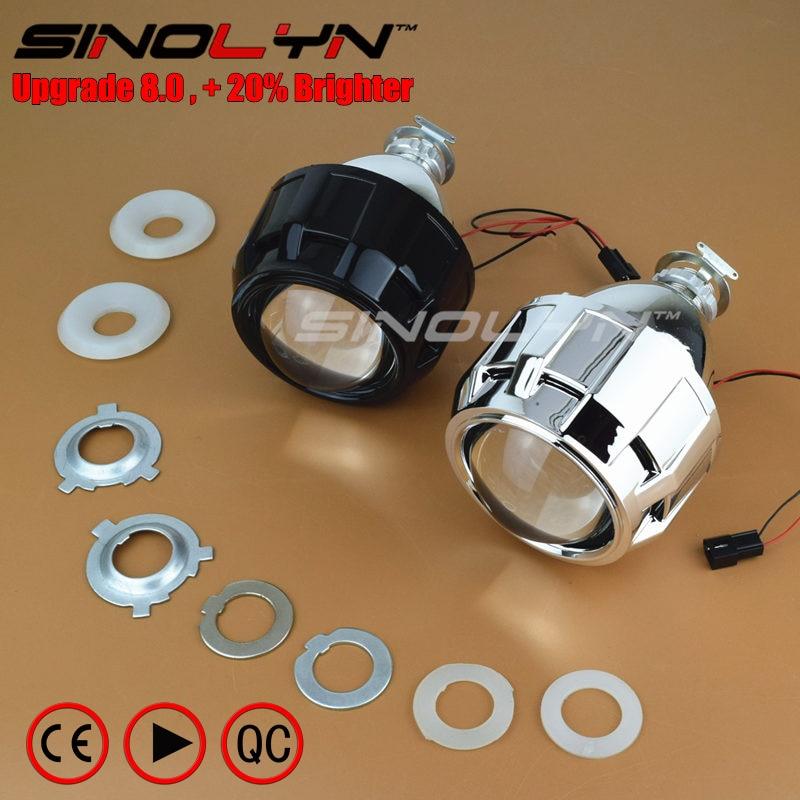 Car Motorcycle Upgrade Mini 8.0 2.5 Bixenon Projector Lens WST HID Headlight Retrofit W/WO Mini Gatling Gun Shrouds,Use H1 Bulbs gztophid car styling retrofit 2 5 h1 hid wst bixenon projector lens h4 h7 with ccfl angel eyes for car headlight