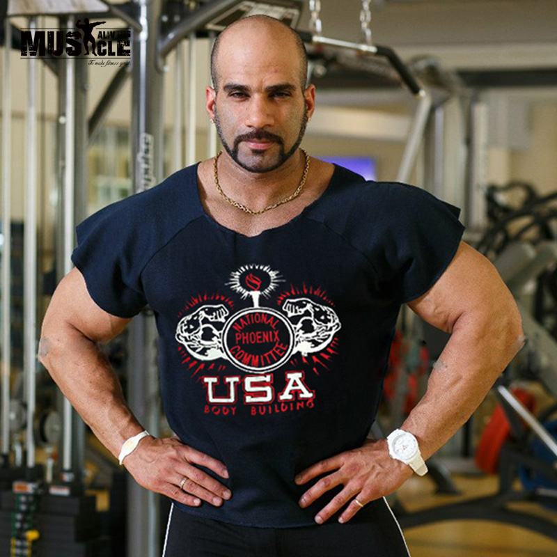 Brand men rag tops men shirts bodybuilding fitness bat for Best fitness t shirts