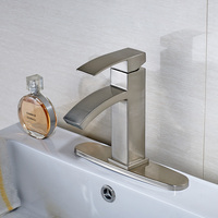 Best Price Fashionable Design Deck Mounted Brushed Nickel Hot Cold Water Faucet For Bathroom