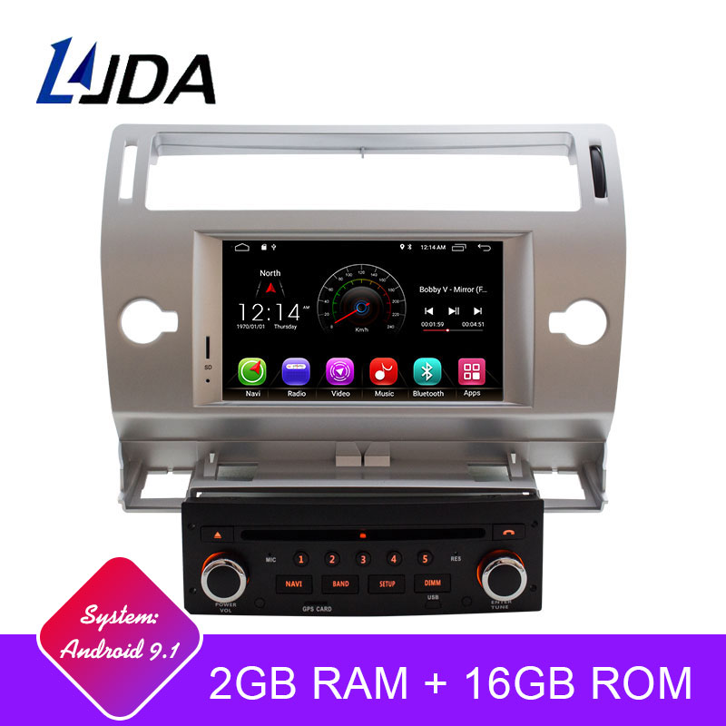 LJDA Dvd-Player Gps Radio Wifi-Map Touch-Screen 1-Din 7inch Android Citroen C4 2G