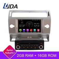 LJDA 1 Din 7 Inch Android 9.1 Car DVD Player For Citroen C4 Quatre Triumph Wifi GPS Radio 2G RAM Touch Screen GPS Radio WIFI Map
