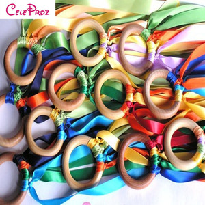 Wooden Ring Waldorf Ribbon Hand Kite Toy Swirl Stremers FLY ME Birthyday Party Favors