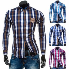 ZOGAA Men Casual Shirts Long Sleeve Hit Color Classic Plaid Shirt Single Breasted Regular Male Top Clothing Summer Shirts недорого