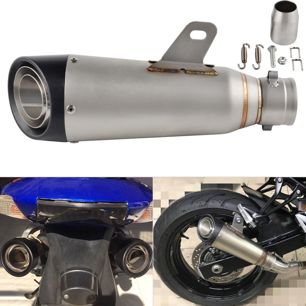 NICECNC Universal 38-51mm Motorcycle Exhaust Muffler Pipe Escape Slip On For KTM Honda Yamaha Suzuki 125 250 350 450 Scooter ATV cool universal 36 51mm motorcycle akrapovic exhaust pipe with muffler moto bike pot escape for yamaha honda ktm kawasaki slip on