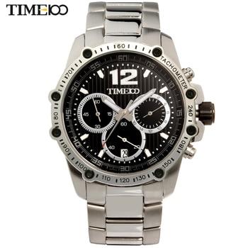 2016 New TIME100 Men's Quartz Watch Stainless Steel Strap Three-circle Calendar Auto Date Casual Quartz Wrist Watches For Men