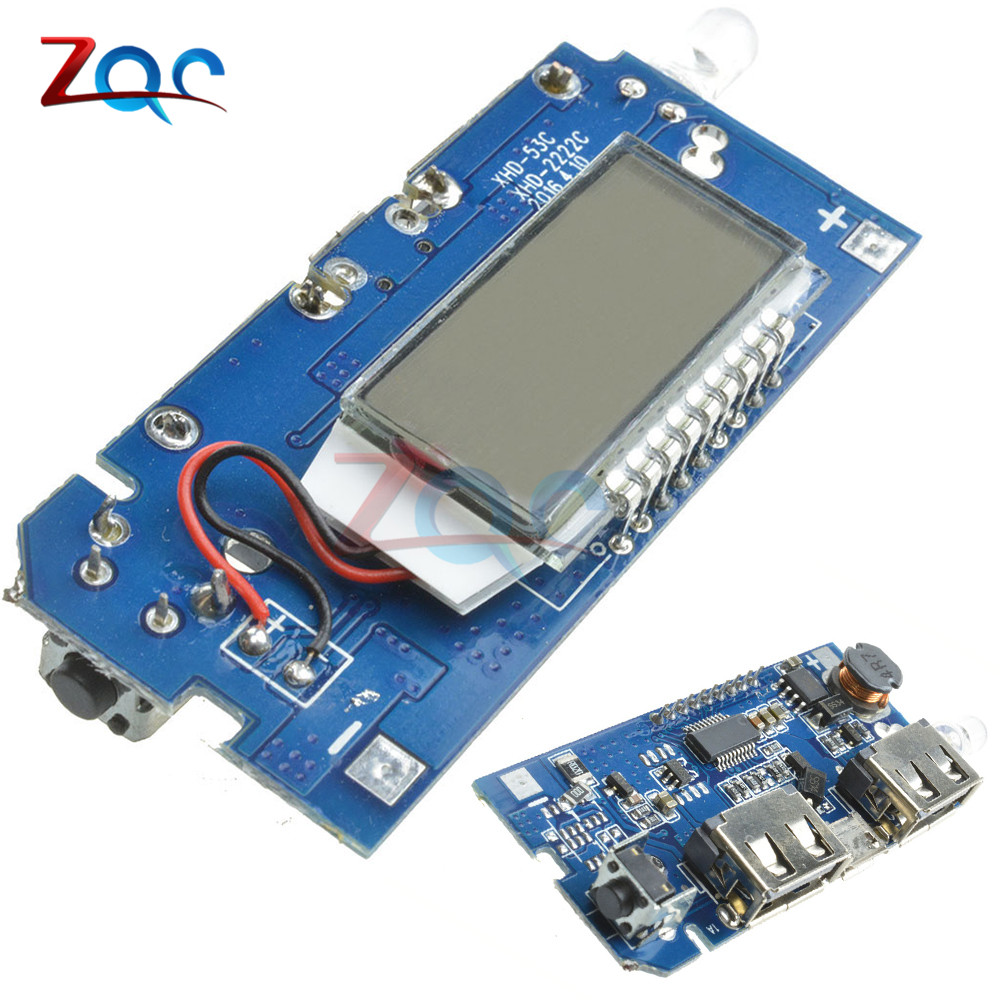 Dual USB 5V 1A 2.1A 18650 Battery Charger Mobile Power Board Bank Charging Module PCB LCD Display For Arduino