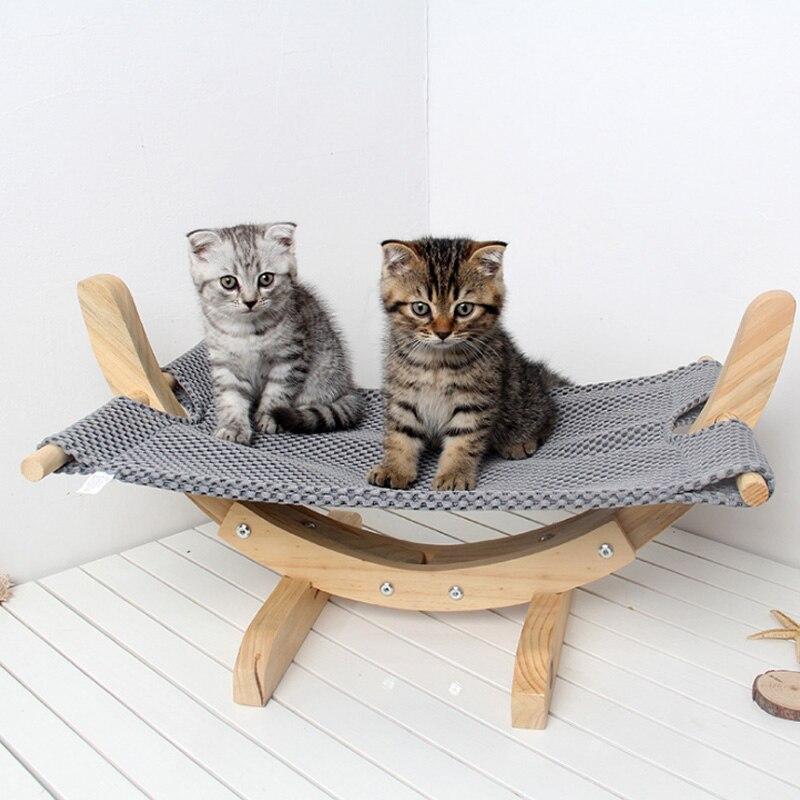 Chat hamac lit respirant bois repos dormir doux confortable animaux fournitures UD88