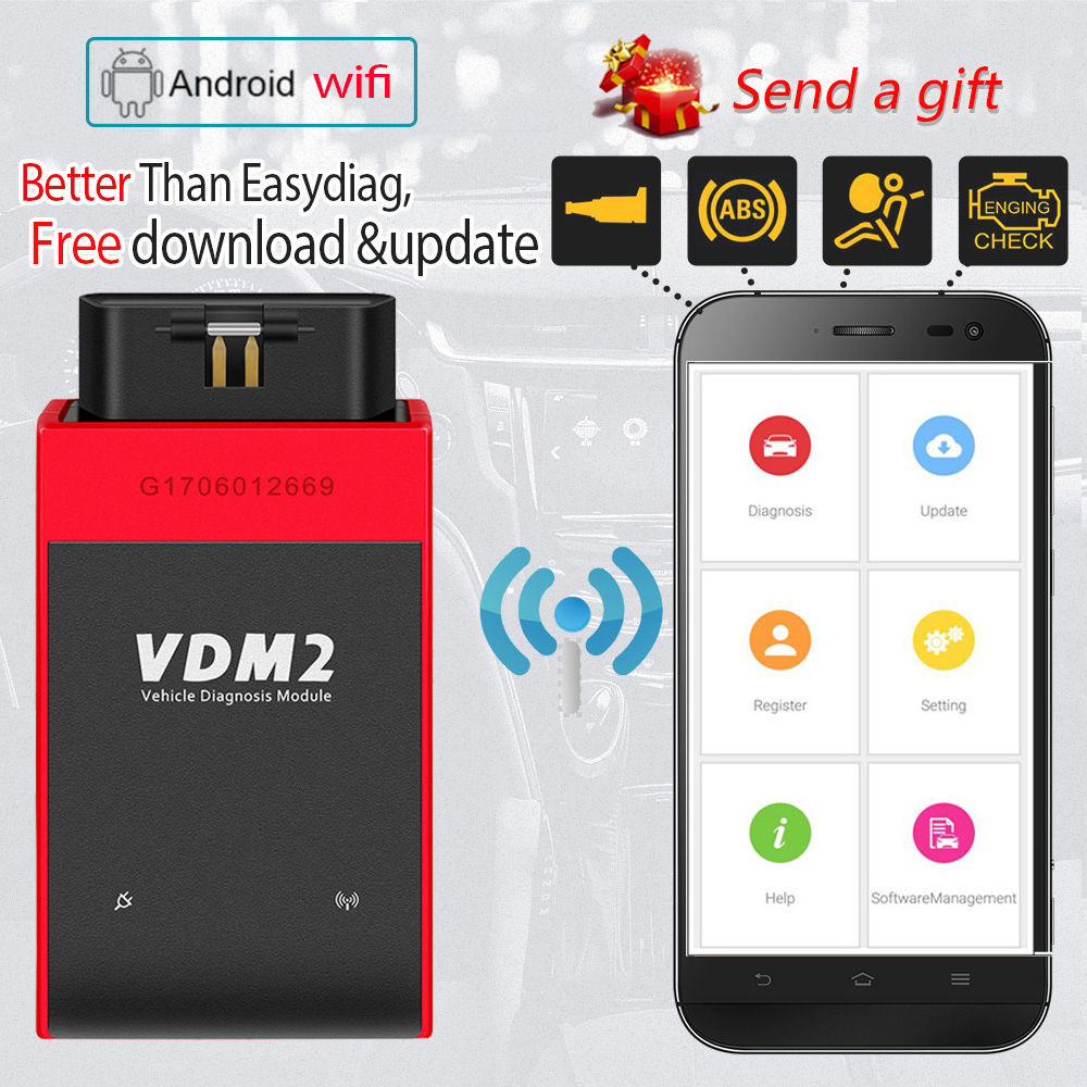 UCANDAS VDM2 2 system V3.9 Wifi Car Diagnostic Tool for Android