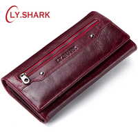 LY.SHARK Money Bags For Women 2018 Walet Genuine Leather Wallet Women Coin Purse Ladies Credit Card Holder Phone Long Clutch Red
