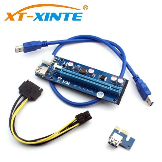 PCI Express Placa Riser PCI-E 1X para 16X 6Pin 4Pin USB3.0 PCIE SATA Cabo de Extensão para o Mineiro BTC Mineração Dedicada adaptador de Cartão
