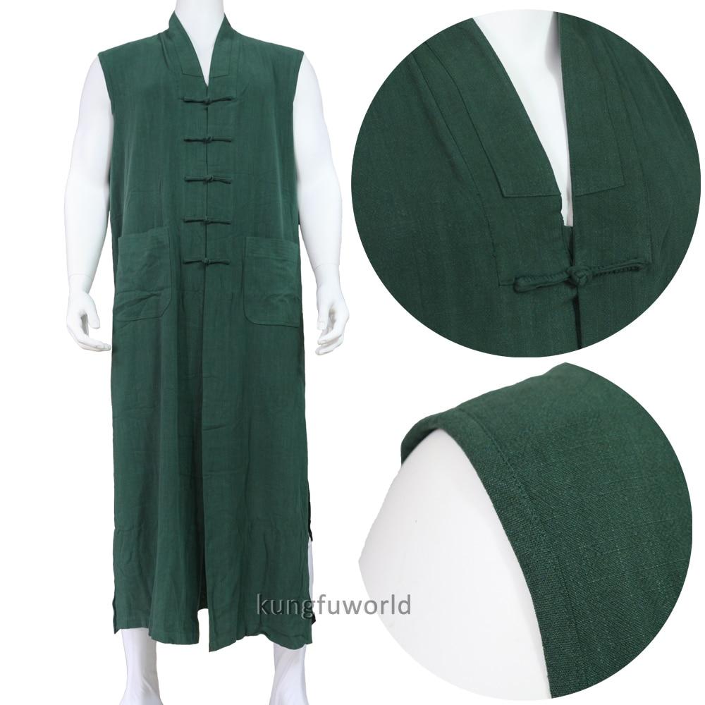 10 Colors Custom Heavyweight Cotton Buddhist Robe Long Vest Shaolin Monk Kung fu Suit Martial arts