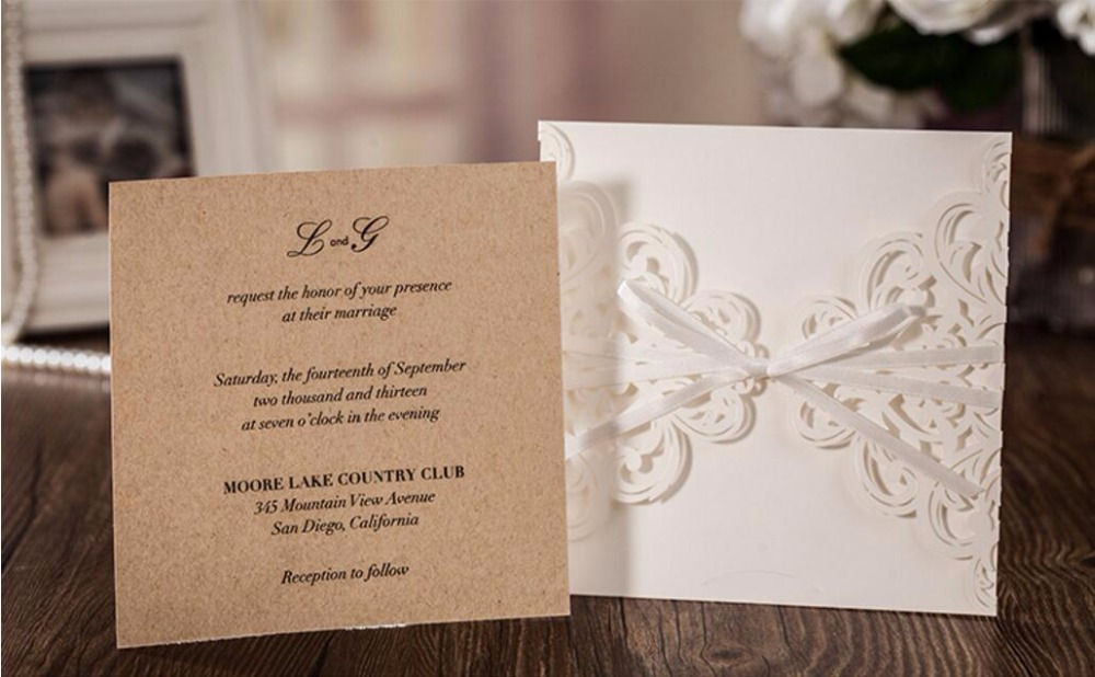 Ben noto Rustico tema taglio laser biglietti d'invito di nozze, festa di  FQ49