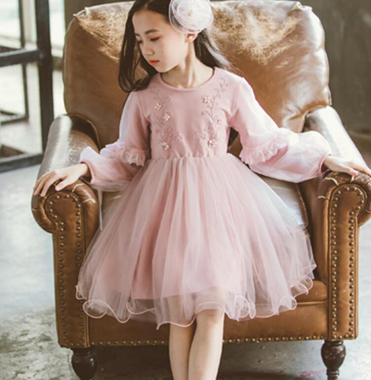 4-11y Girls Dress 2019 Spring Kids Party Dresses Embroidery Girl Long Sleeve Dresses Sweet Princess Party Dress Kids Clothing