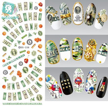 Rocooart DS338 Water Transfer Nails Art Sticker Harajuku Elements Colorful USA Dollars Nail Wraps Sticker Manicura Decal