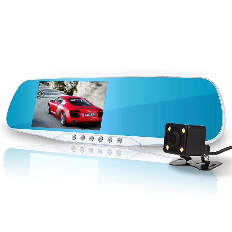 4.3 Car Rearview Mirror Dvr Camera Blue Review Mirror Digital Video Recorder Auto Registrator Full HD 1080P Led Night Version image