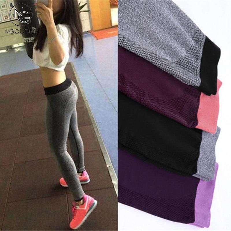 NGOLODO Women Leggings Fitness black sexy Workout Bodybuilding Quick Dry leggins Elastic slim jeggings pushup Pants for girls