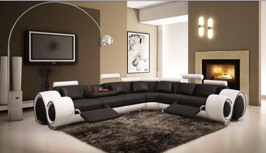Sofas Für Wohnzimmer Ecksofa Aus Leder Liege Leder Sofa Set Mit Echtem Leder  Black U0026 White
