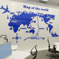 Wall sticker 3d office classroom decoration Map of world living room sofa background acrylic plastic self adhesive wall stickers