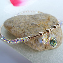 Super flash white colored crystal Anklets ankle chain drop female Austria crystal genuine 14 karat gold jewelry