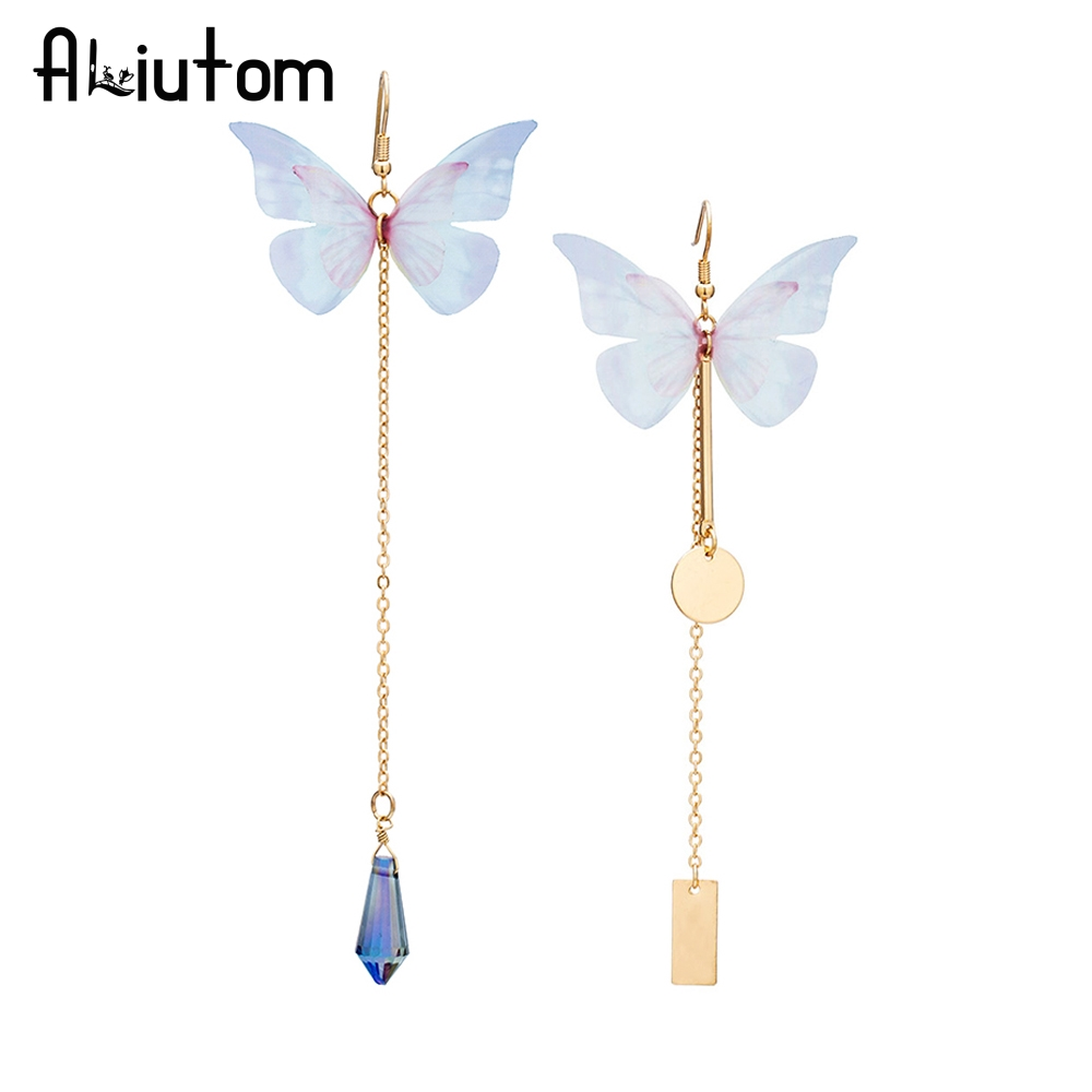ALIUTOM New 1pc colorful butterfly earrings gold long chain geometric charm earrings women 2 styles