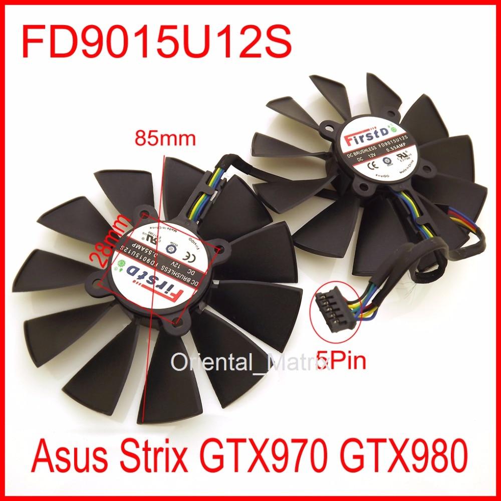 2pcs/Lot FD9015U12S 85mm 28x28x28x28mm 12V 0.55A with 5Pins for Asus Strix GTX970 GTX980 Graphics Card Cooler Fan free shipping 2pcs lot fd9015u12s 12v 0 55a 85mm for xfx hd7950 fx 797a tdf hd7970 graphics card fan 4wires 4pin