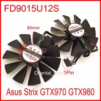 2pcs/Lot FD9015U12S 85mm 28x28x28x28mm 12V 0.55A with 5Pins for Asus Strix GTX970 GTX980 Graphics Card Cooler Fan