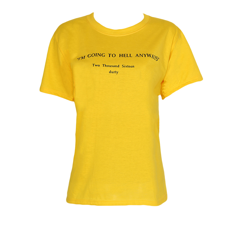 I'm Going To Hell Anyways Letter Print Funny T-Shirt Women Fashion Yellow T-Shirt Summer Short Sleeves Tee Tops Harajuku T Shirt