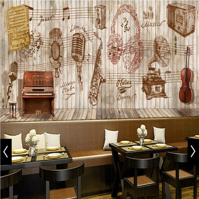 Wallpaper 3d Music Theme Board Retro Background Wall Mural Restaurant Bar Cafe Bedroom Hotel