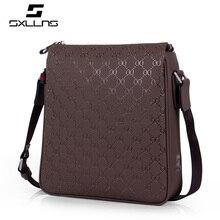 Street corner tidal current Fashion Men Black Leather Zipper Messenger Bag Design Men's Famous Sxllns Brand Shoulder Bag