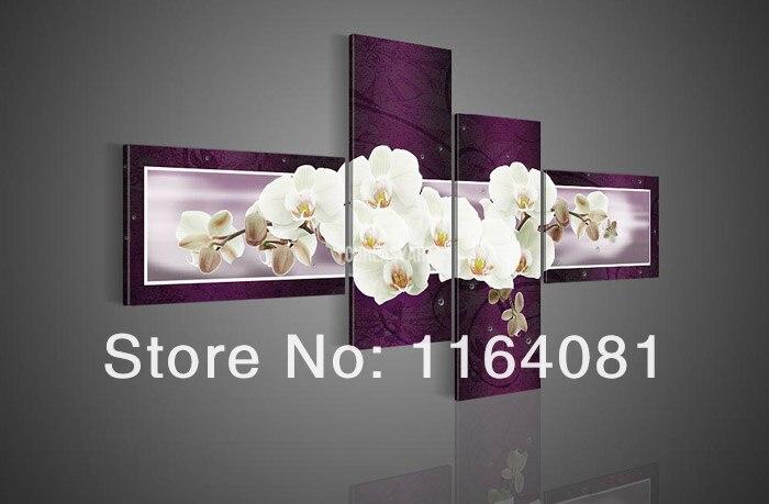 Livraison gratuite à la main 4 pièce violet moderne décoratif peinture à l'huile sur toile mur Art fleur photo pour salon photos