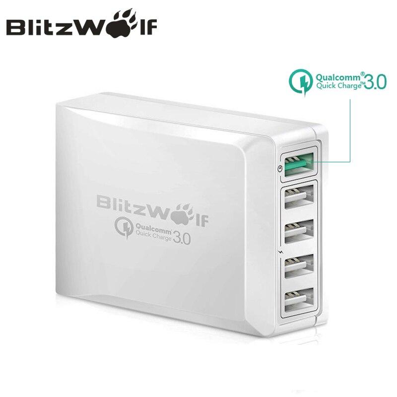 BlitzWolf BW-S7 Charge Rapide QC3.0 Adaptateur USB Chargeur Intelligent 5 Port Chargeur De Bureau Téléphone Mobile Voyage Chargeur Pour Smartphone