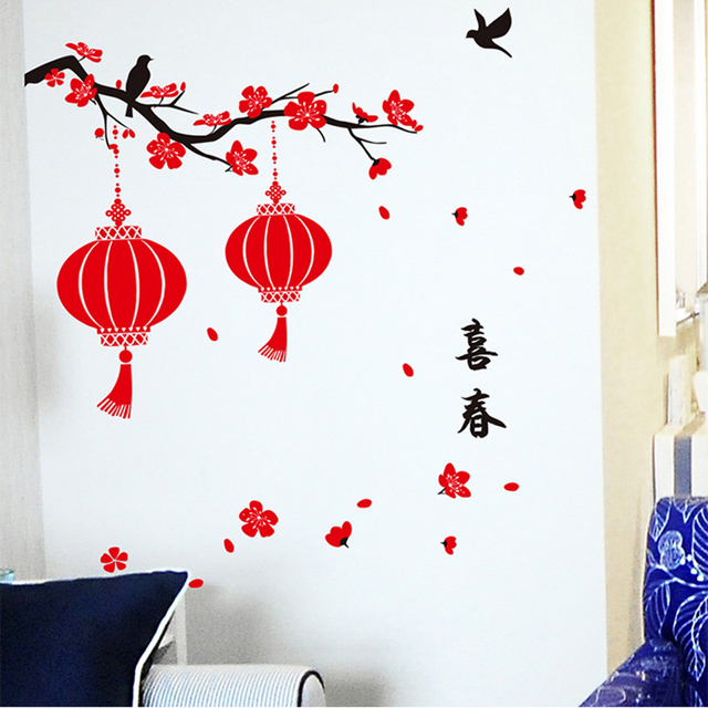 Happy New Year Wall Stickers Living Room Shop Glass Door Window Decoration  Diy Home Decals Festival