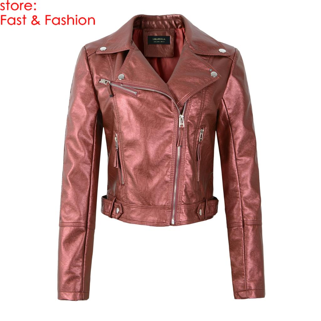 2019 New Women High Street Autunm Winter Faux   Leather   Jackets Lady PU Motorcycle Biker Long Sleeve Outerwear Coats Wine Red