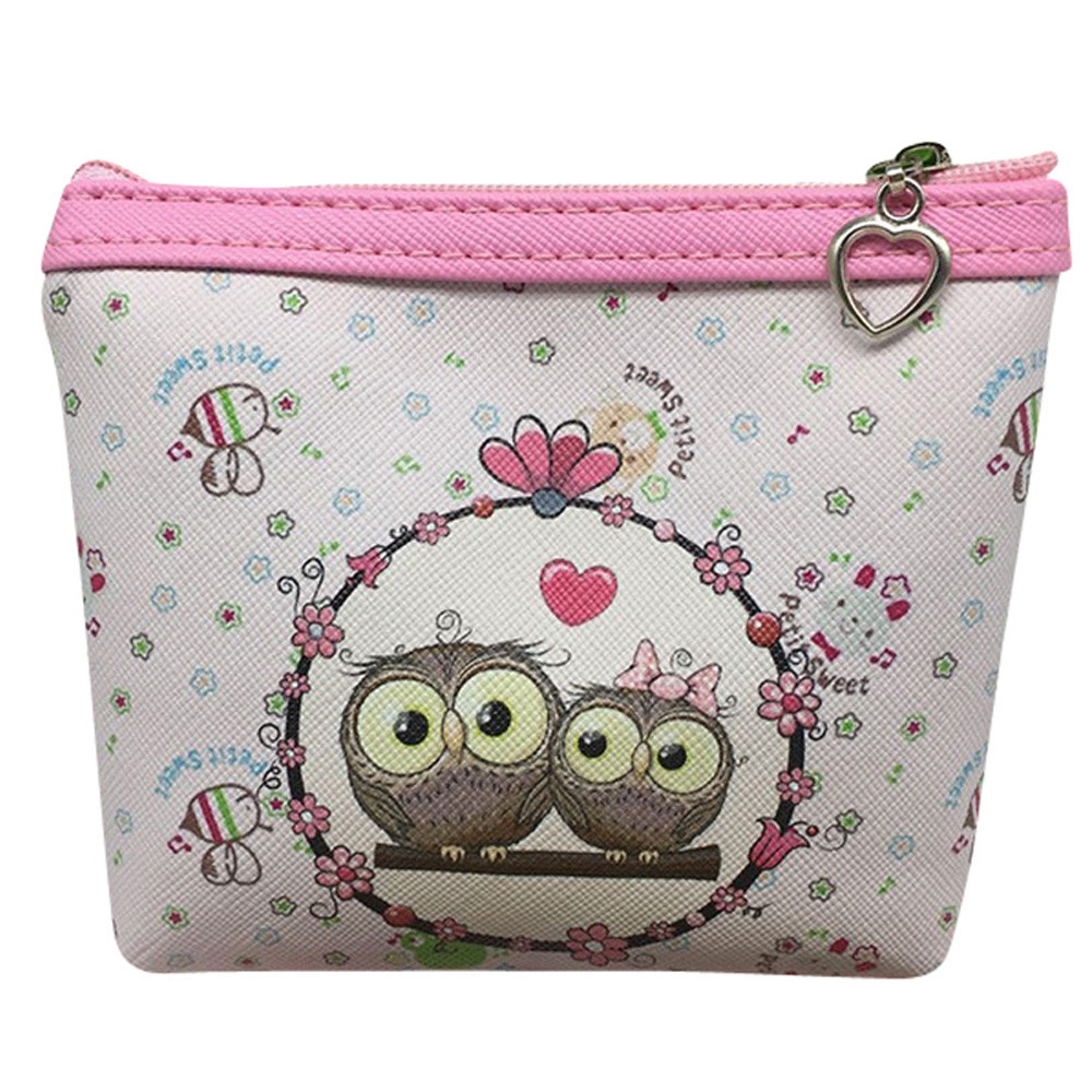 Cute Coin Purse Women Owl Wallet Leather Pouch Card Holder Clutch Handbag Female Money Bag Girls Gift