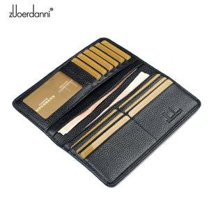 Image 3 - Miękkie Slam portfel męskie długie portfele bardzo cienkie portfele prawdziwej skóry posiadacz karty wielofunkcyjny torebka wysokiej jakości moda
