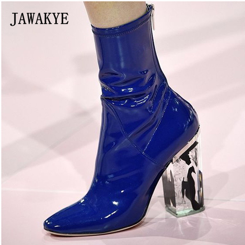 Здесь можно купить  2018 Chic Ankle Boots Woman Pointed Toe Red Blue Patent Leather Transparent Crystal High Heel Boots Women Fashion Short Boots  Обувь