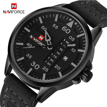 NAVIFORCE Watches Men's Quartz Date Clock Man Leather Strap 30M Waterproof Men Army Military WristWatches 9074 Relogio Masculino image