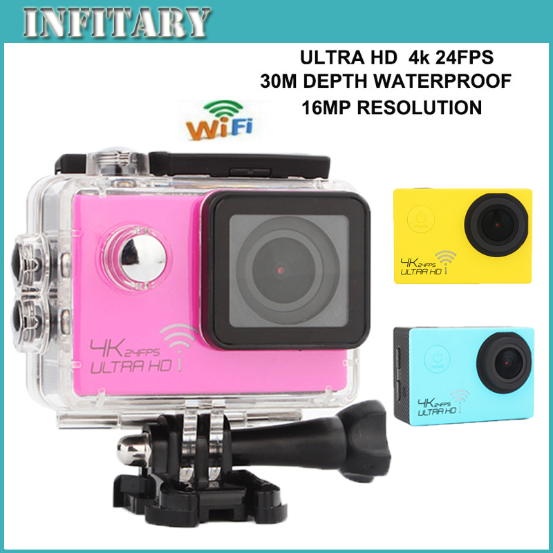 Hero 4 Style 4K Camera 3840*2160P/24FPS 16MP 170D Sports Action video Camera HD DV WiFi 2inch Action cam 30M Waterproof camera