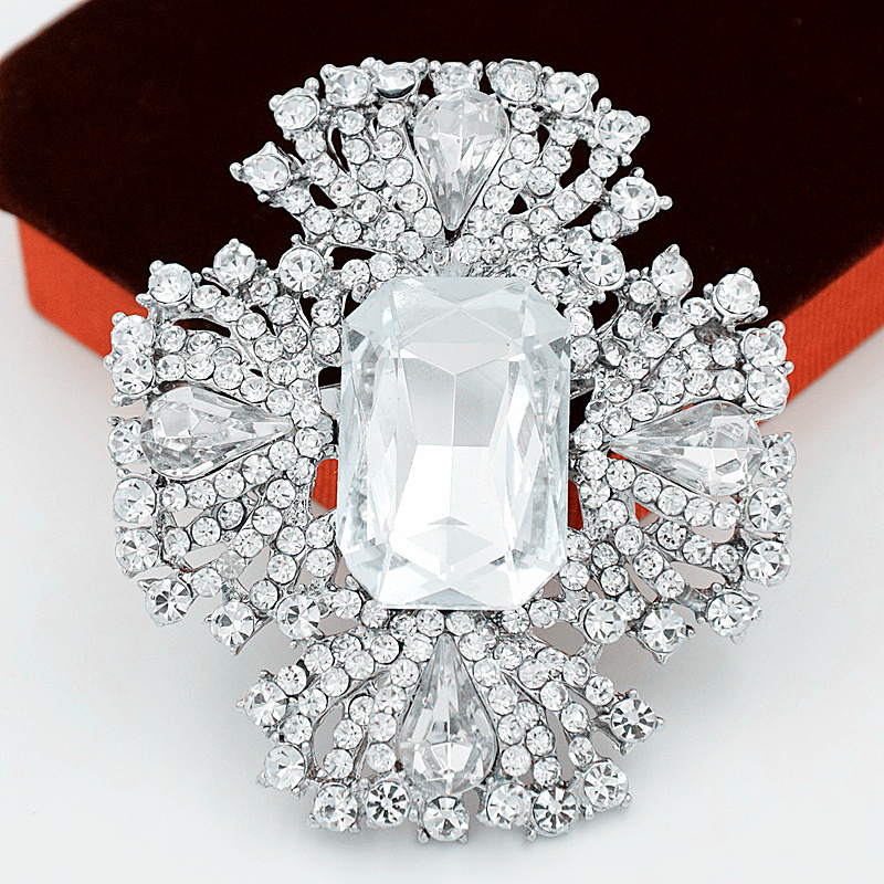 DHL Fedex Free Shipping Wholesale Silver Color Large Glass Crystals Stunning Diamante Big Brooch for Wedding