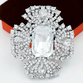 DHL Fedex Free Shipping Wholesale Silver Color Large Glass Crystals Stunning Diamante Big Brooch for Wedding Bounquet, Gift etc.