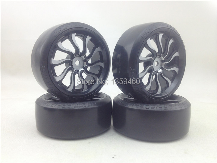 0mm Offset Drifting For Carpet Big Clearance Sale Pre-glued New 4pcs Rc Carpet Drift Tires Tyre Wheel Rim 1/10 Drift Tire Wave painting Silver